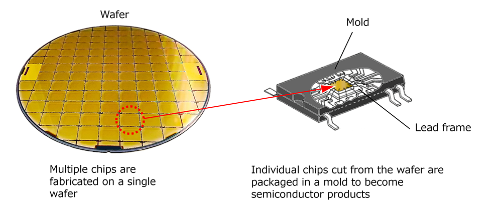 The chip, the main part of the semiconductor, is packaged in a resin mold.