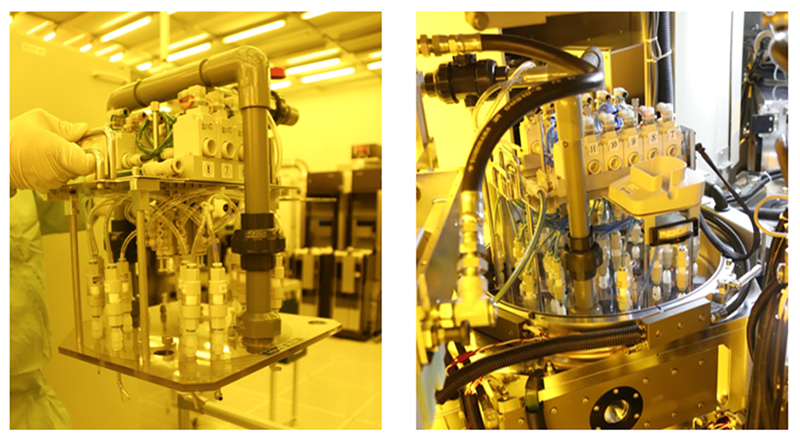 Left: Auto sequential blow equipment / Right: Installed in the chamber