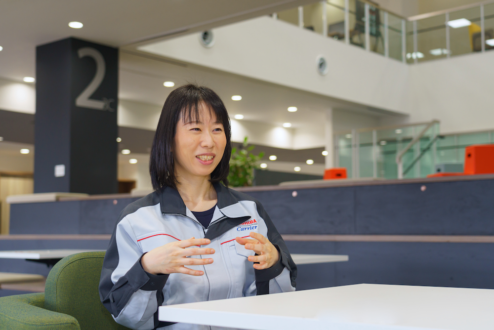 Satoko Sugisaki, a Specialist working on new fields and basic research and development at Toshiba Carrier Corporation's Core Technology Center