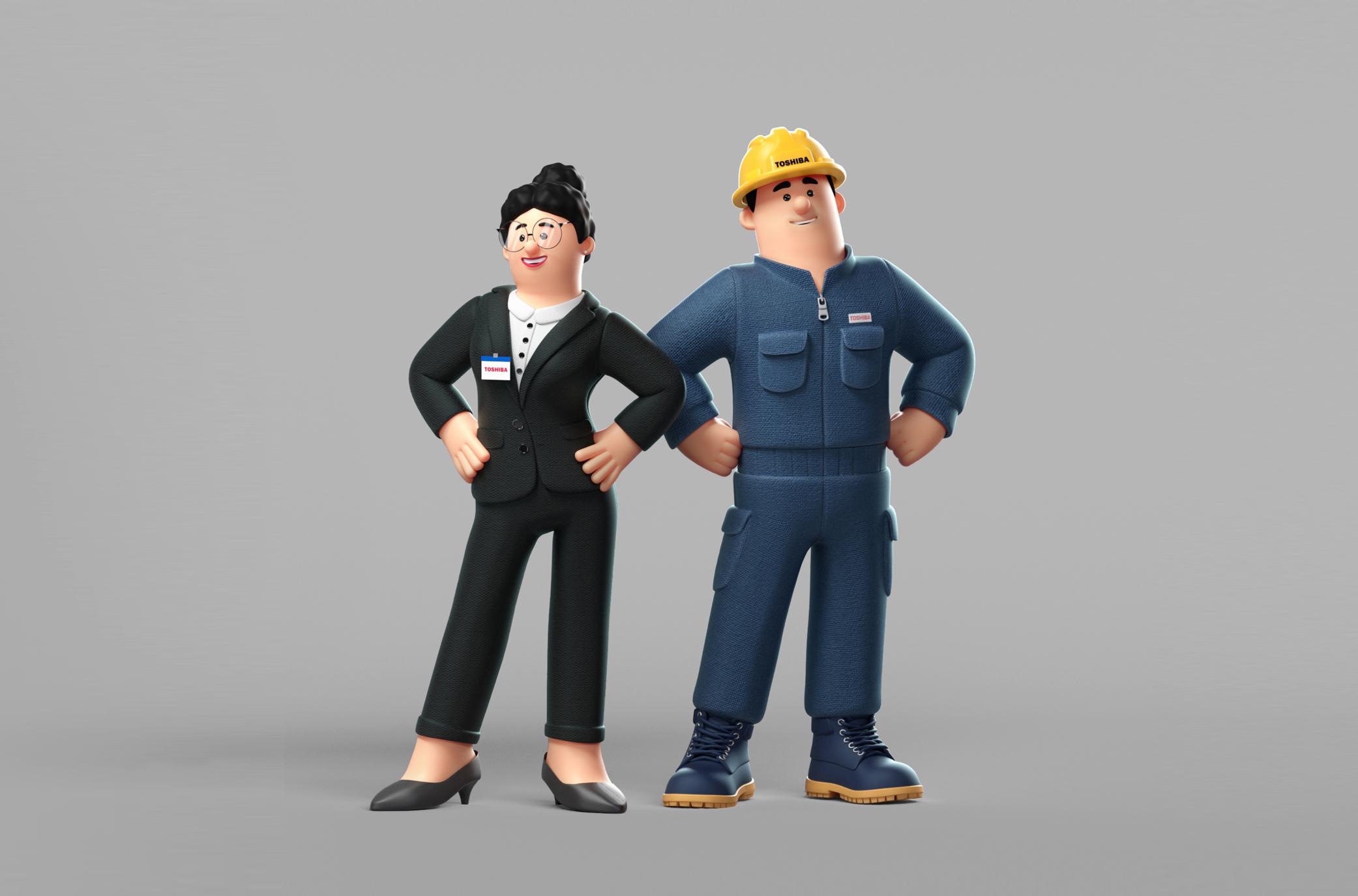 制作初期段階における、東芝従業員3Dアニメーションキャラクターのモックアップ