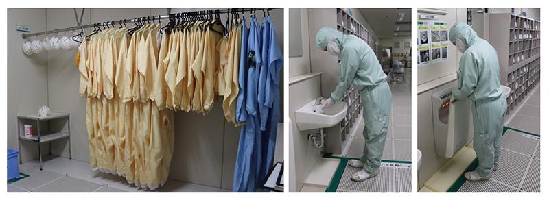 【図10 クリーンルームの前室で防塵服を着て、手洗いも欠かさずに】