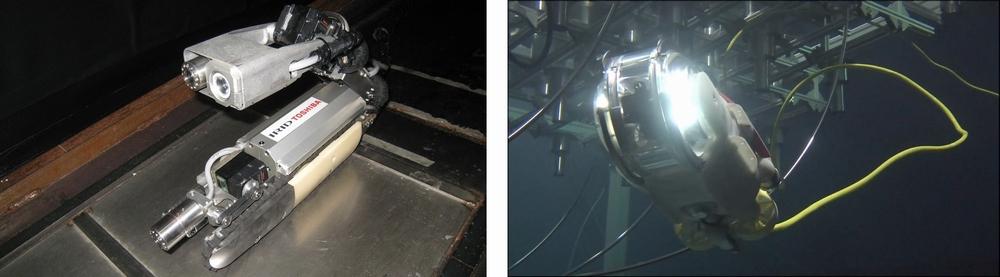 福島第一原子力発電所 原子炉格納容器の内部を探る自走式ロボットと水中遊泳ロボット(IRID:国際廃炉研究開発機構)