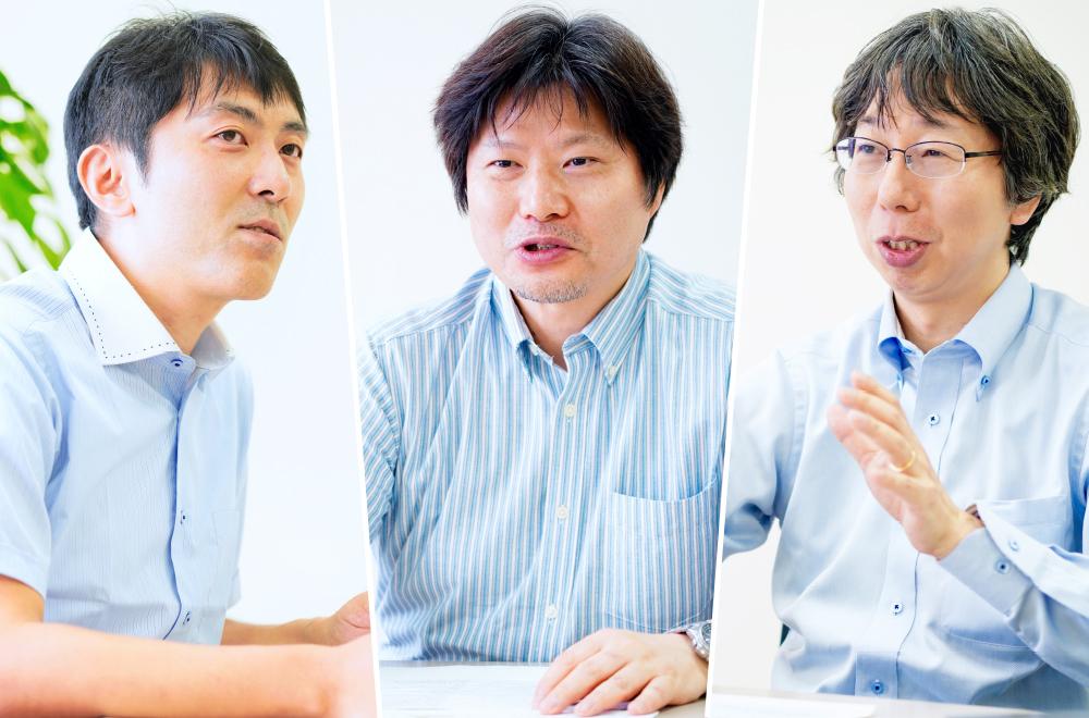 左から株式会社東芝 研究開発センター天野昌朗氏、都鳥顕司氏、水口浩司室長