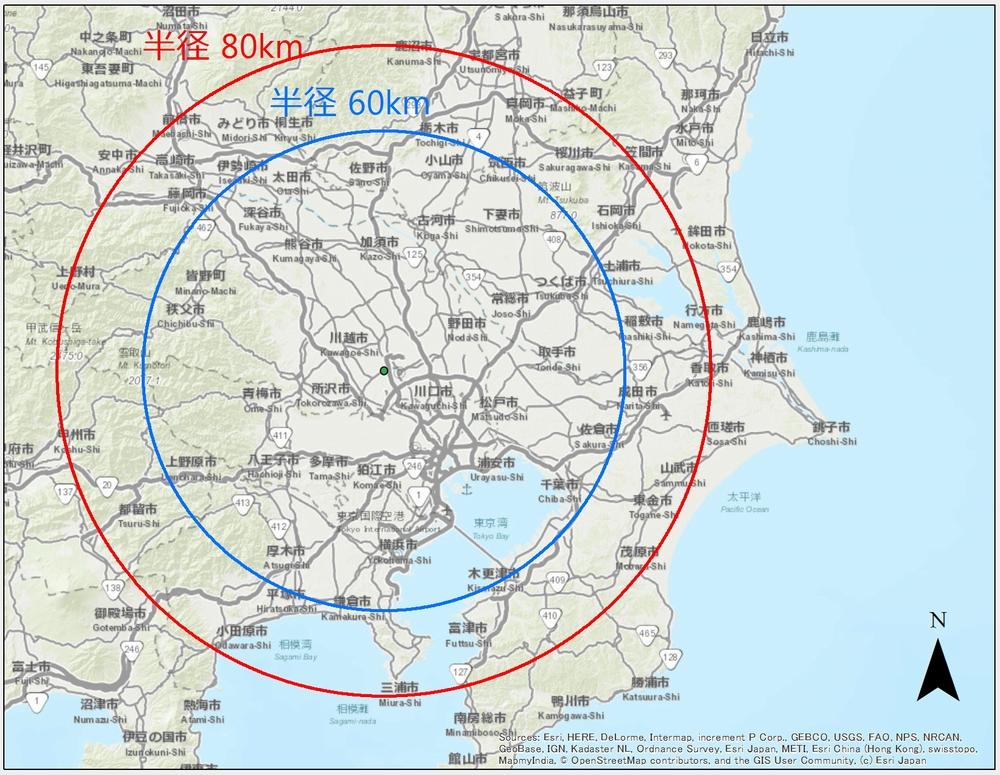 埼玉大学を中心とした観測範囲