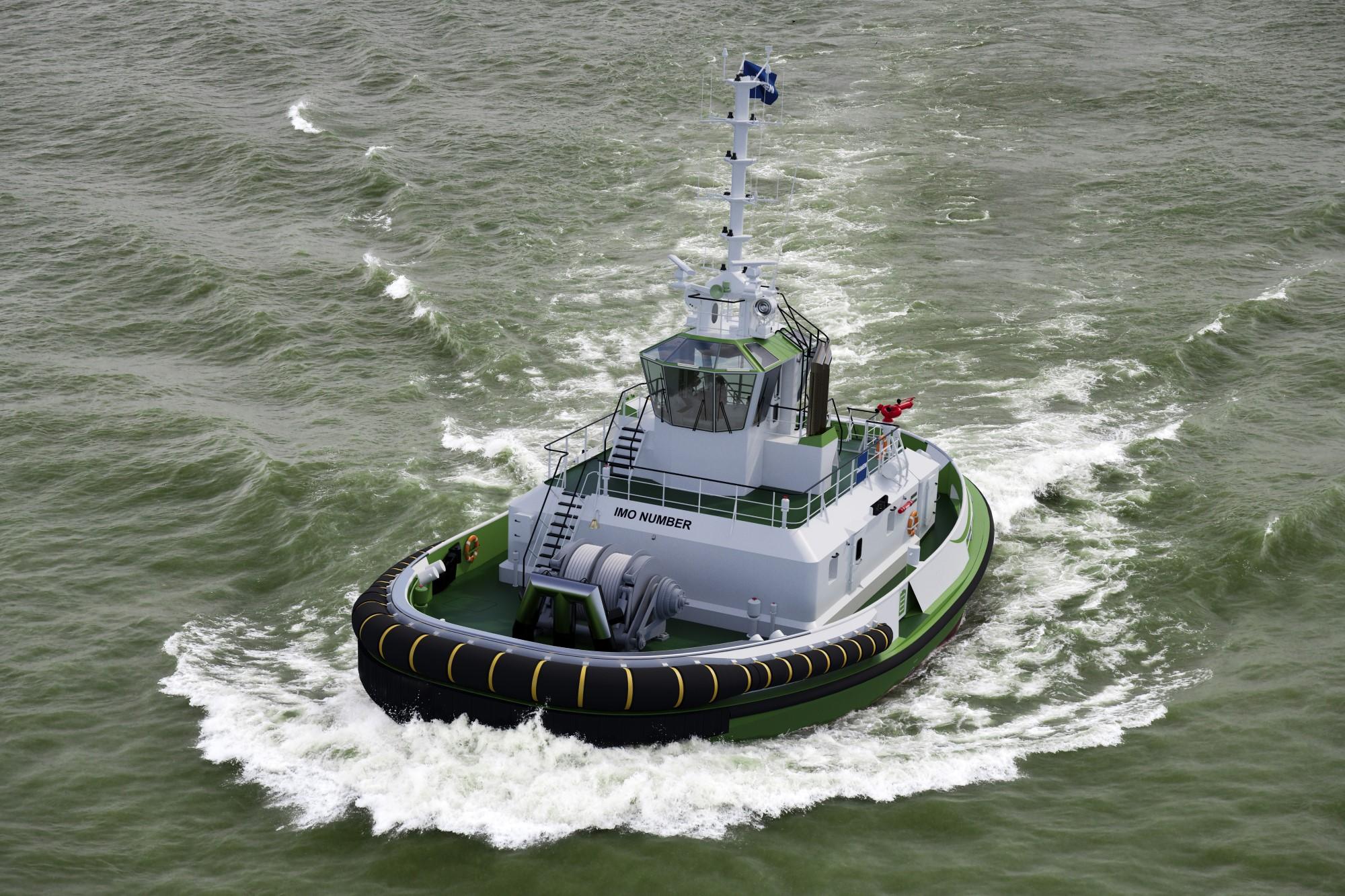 曳航力70トンの世界初の完全電動タグボート、「スパーキー」の完成イメージ